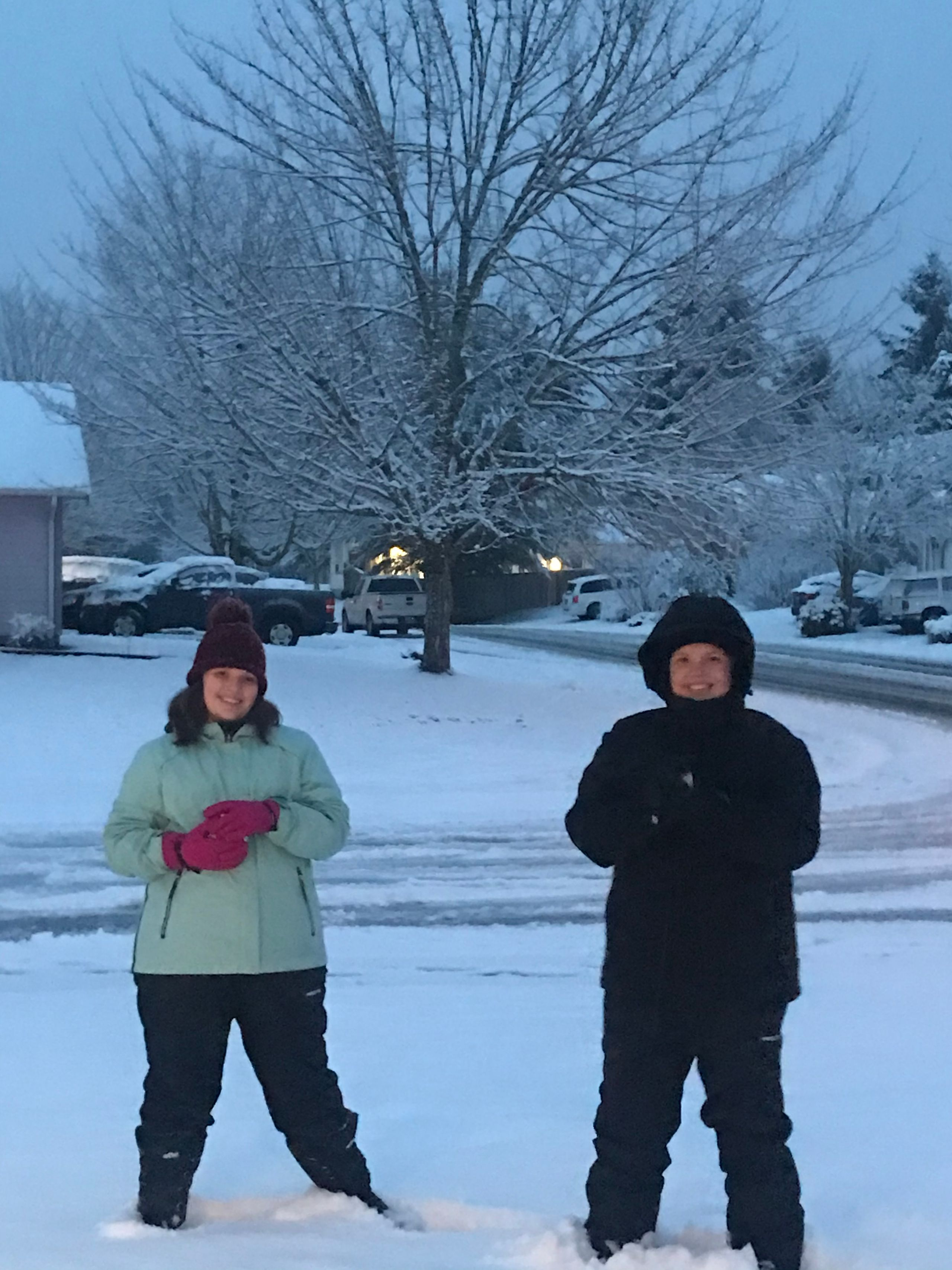 My kids Madison and Travis enjoying the snow in Lacey! And early 13th birthday present for Travis who's bday is Saturday. (Image: Alicia Patterson / Chime)