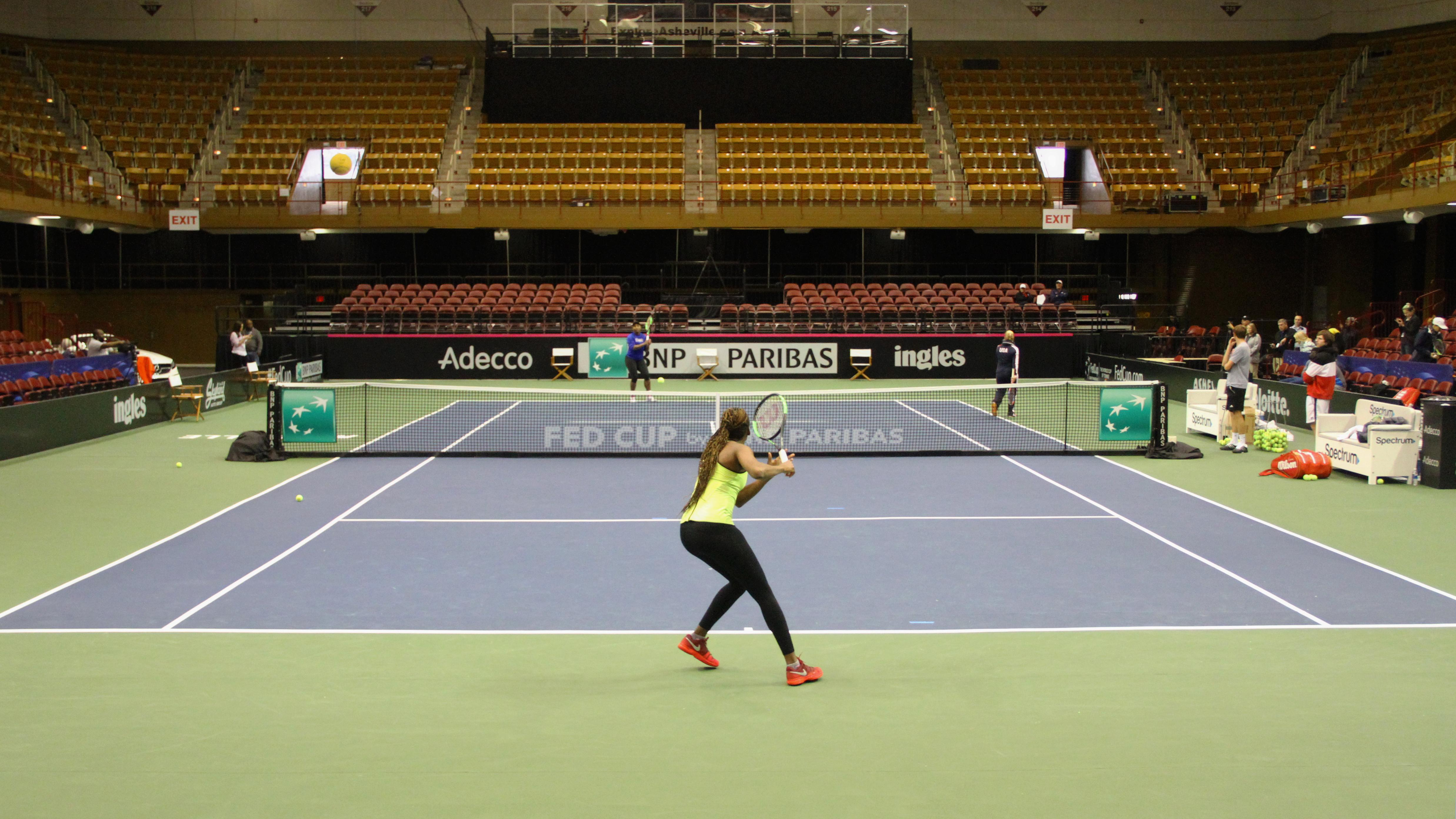 Venus and Serena Williams practice at the US Cellular Center on Feb. 7, 2018, ahead of the Fed Cup. (Photo credit: WLOS Staff)