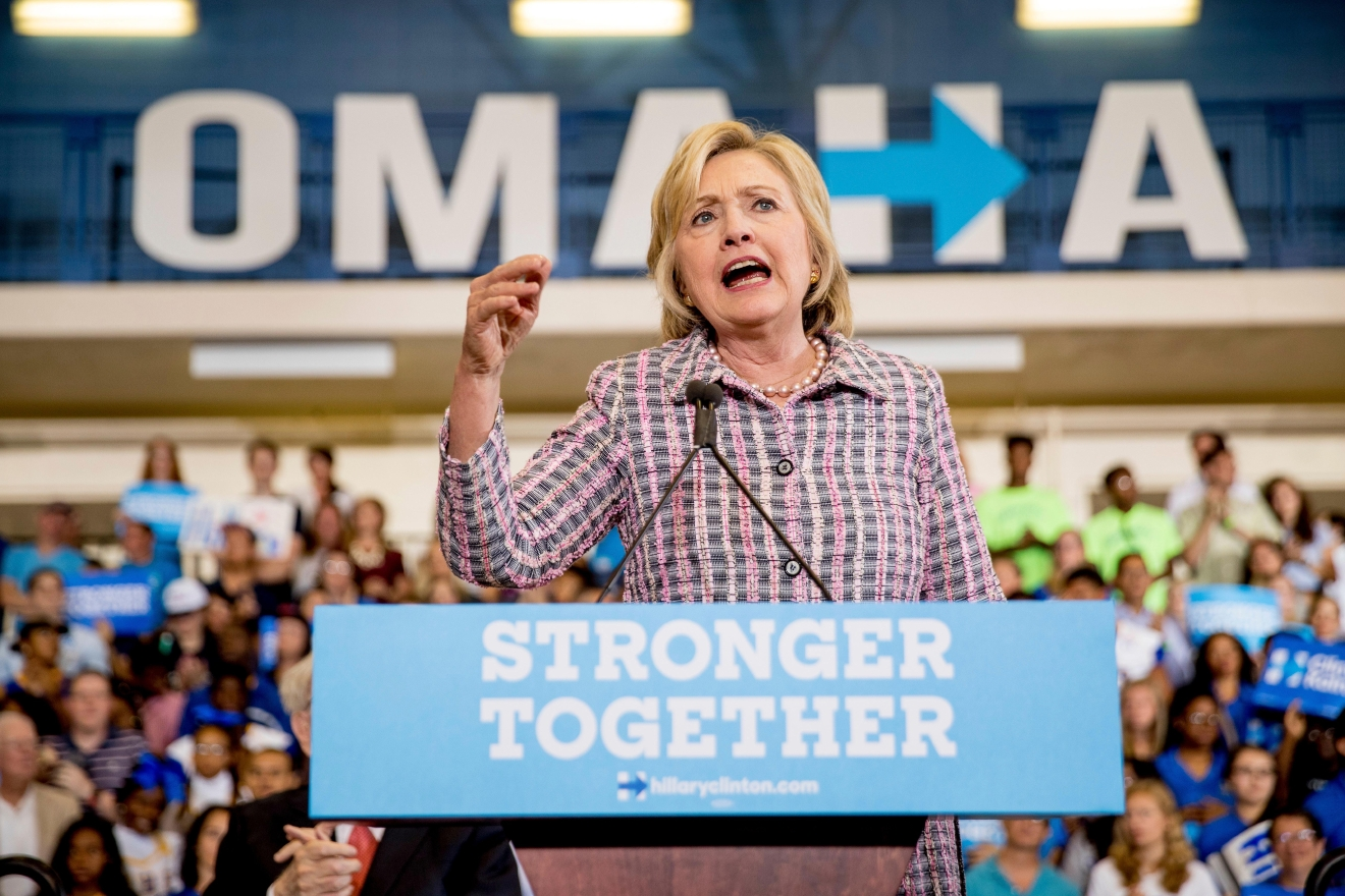 Democratic presidential candidate Hillary Clinton speaks at a rally at Omaha North High Magnet School in Omaha, Neb., Monday, Aug. 1, 2016. (AP Photo/Andrew Harnik)