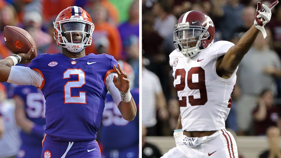 Kelly Bryant [L] and Minkah Fitzpatrick will lead Clemson and Alabama when they meet in the Sugar Bowl on New Year's Day (AP Photos - Richard Shiro, David J. Phillip).png