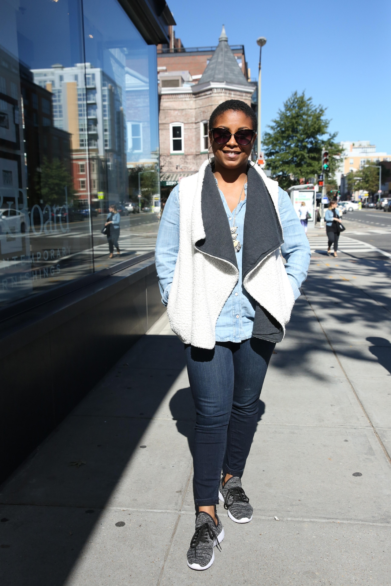 An unstructured vest with a sneaker is casual, but still trendy. (Amanda Andrade-Rhoades/DC Refined)