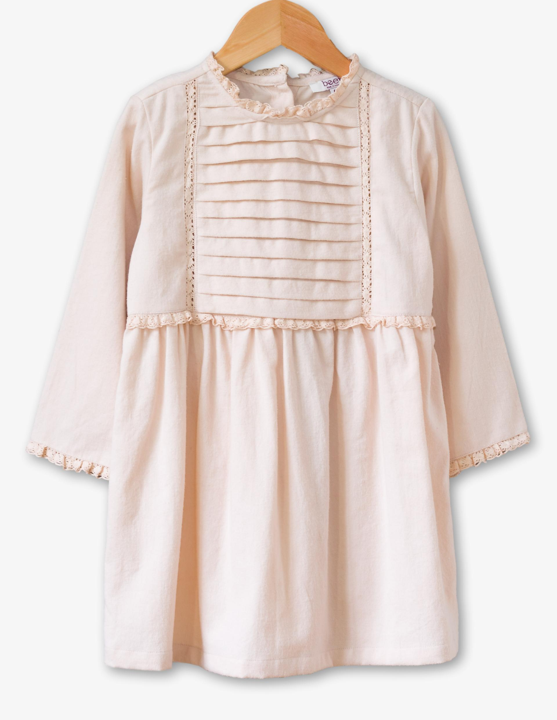 <p>FOR LITTLE MISS. How darling is this Lulu Dress in Blush from Beet World! A lovely one to dress up or dress down. It's made from dreamy soft twill fabric for a cozy feel on nippy days and features a beautiful warm blush color and delicate lace detail. Price: $45.{&nbsp;} (Image: Beet World){&nbsp;}</p><p></p>