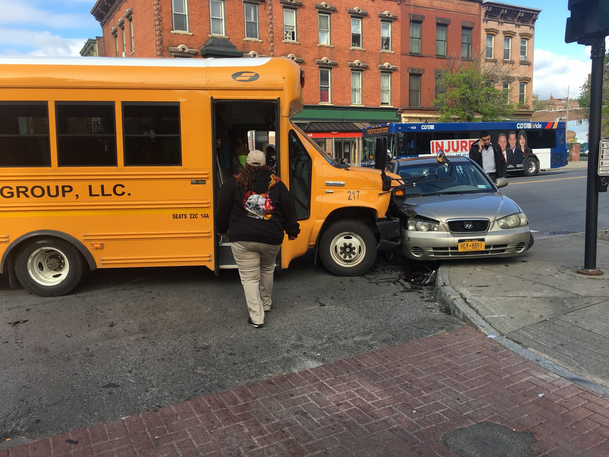 Crews were on the scene of a crash involving a school bus and a car  (Photo with permission @StephenViking)