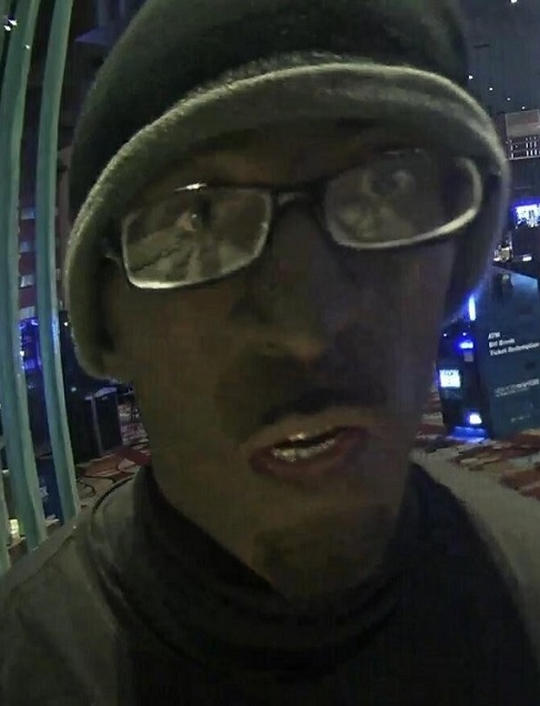 A surveillance photo shows the suspect in a Jan. 10, 2018, armed robbery of a major Strip casino cashier's cage. (LVMPD photo)