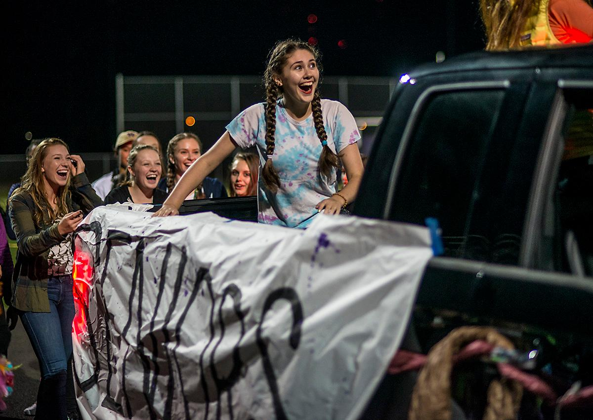 South Eugene Axemen High School students celebrate homecoming at halftime. Grants Pass Cavemen defeated South Eugene Axemen 13-6 on Friday night at South Eugene. Photo by Rhianna Gelhart, Oregon News Lab