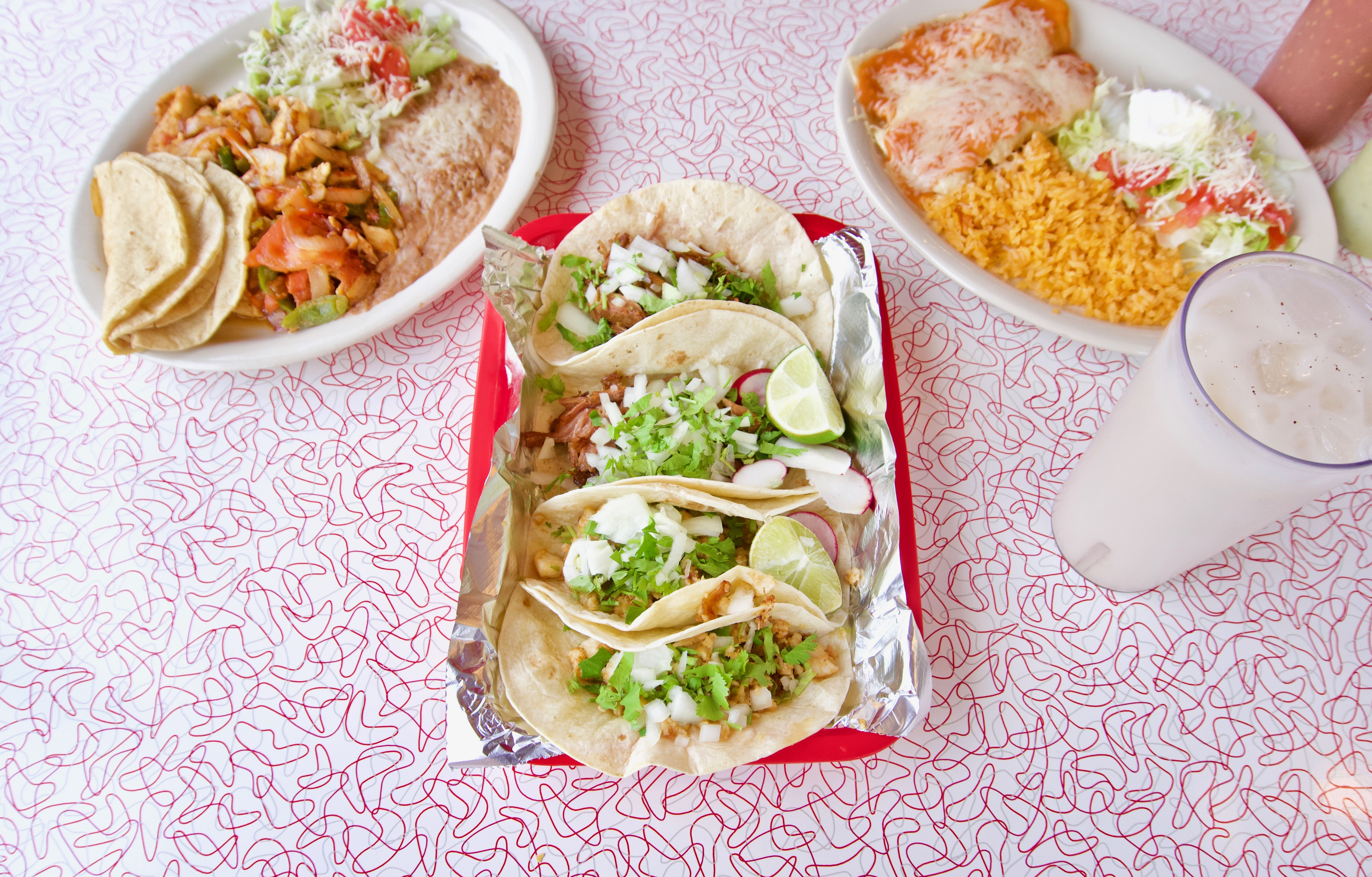 <p>Carnitas and pescado tacos, chicken enchiladas, lunch fajitas, and horchata / Image: Brian Planalp // Published: 5.20.18</p>