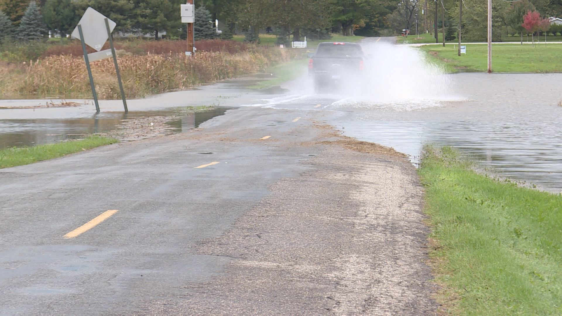 Rainiest day in October causes flooded streets and fields. //WSBT 22 News.