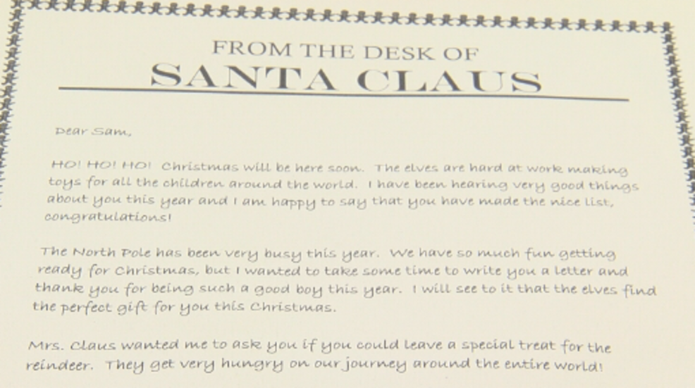 organization offers letters from santa claus for each donation