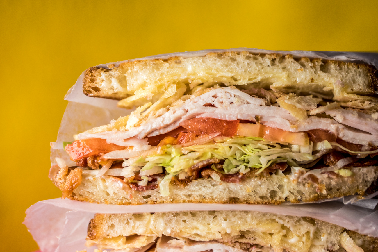 The Bushwood: turkey, bacon, lettuce, tomato, and red wine vinegar chips with mayo on griddled sourdough bread / Image: Catherine Viox{ }// Published: 11.13.20