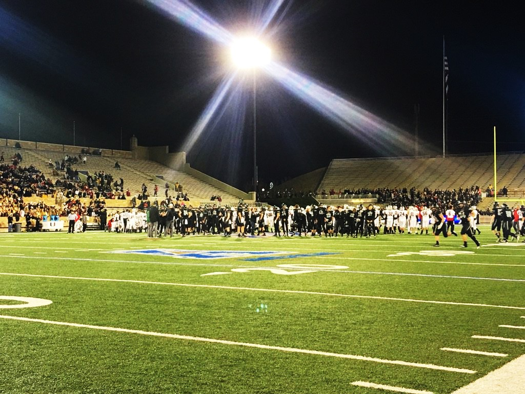 Timberwolves of Norman North preparing for their first state football title, prior to the game against Union High School at the University of Tulsa on Friday, Dec. 2, 2016 (Sam Gannon / KOKH)
