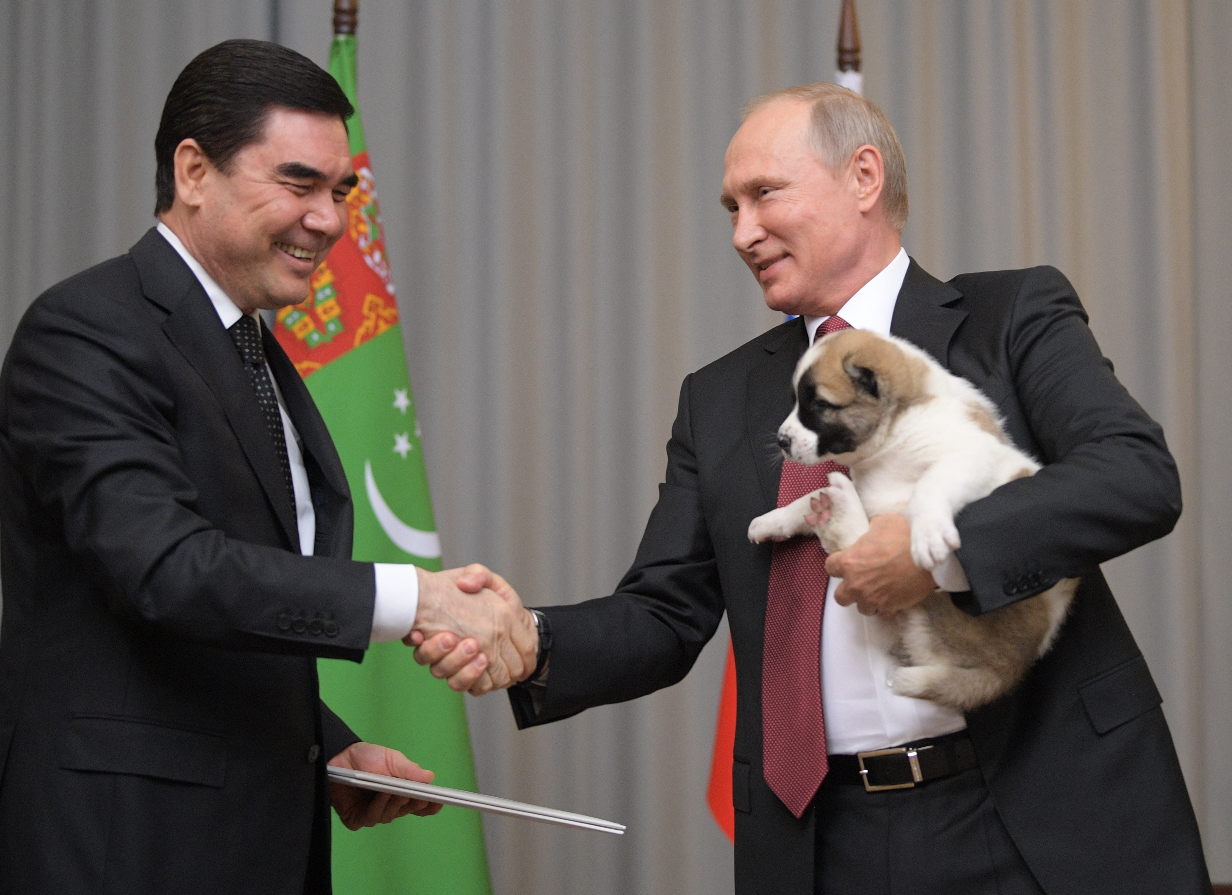 Turkmenistan's President Gurbanguly Berdymukhamedov, left, presents a puppy to Russian President Vladimir Putin during their meeting in the Bocharov Ruchei residence in the Black Sea resort of Sochi, Russia, Wednesday, Oct. 11, 2017. The presidents met at the sidelines of a summit of leaders of ex-Soviet nations in Sochi. (Alexei Druzhinin/Sputnik, Kremlin Pool Photo via AP)