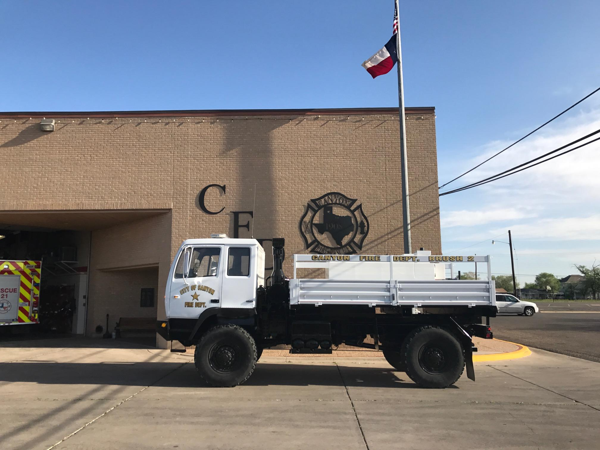 "The Canyon Volunteer Fire Department has converted a military vehicle into a ""multipurpose firefighting truck"" thanks to the truck being awarded through the Department of Defense Firefighter Property Program. (Photo courtesy of Canyon VFD)"
