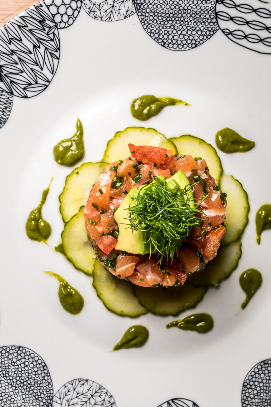Salmon Toro: shallots, chive, tomato concasse, avocado, and lightly pickled cucumbers / Image: Catherine Viox{ }// Published: 1.23.20