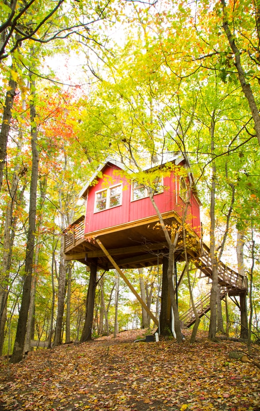 "The ""Little Red"" treehouse / Image courtesy of The Mohicans // Published 12.27.16"