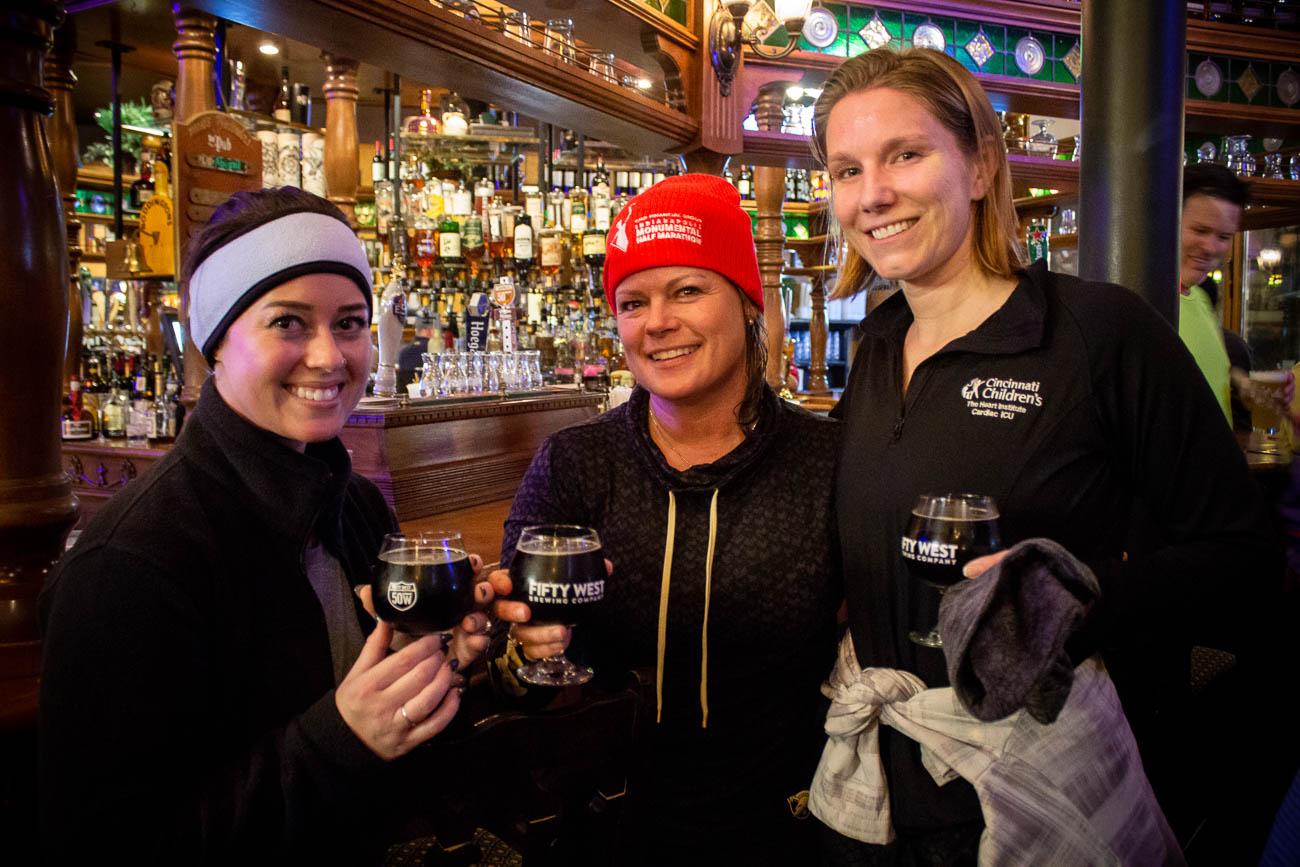 Runners enjoying a drink at The Pub in Rookwood after their run / Image: Katie Robinson, Cincinnati Refined // Published: 1.27.19