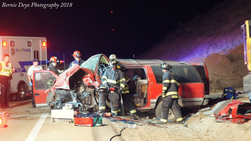 Ada County Fire and EMS responded to an injury accident and vehicle fire after receiving calls around 12:30 a.m. (Photo courtesy Bernie Deyo)