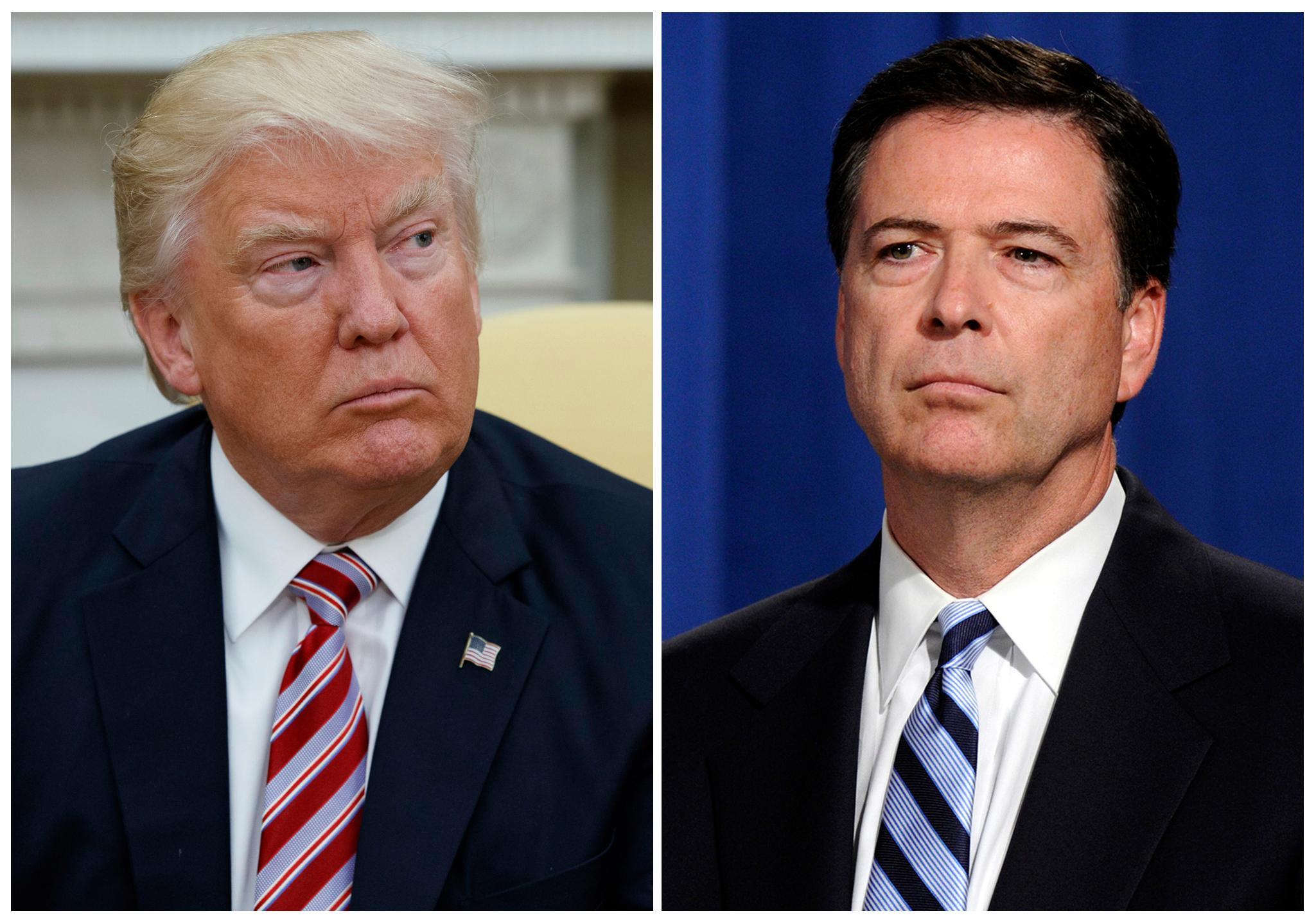 In this combination photo, President Donald Trump, left, appears in the Oval Office of the White House in Washington on May 10, 2017, and FBI Director James Comey appears at a news conference in Washington on June 30, 2014.{ } (AP Photo/Evan Vucci, left, and Susan Walsh, File)