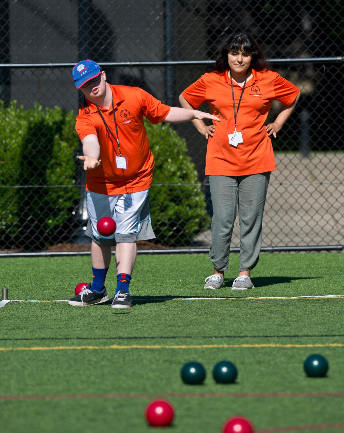 Special Olympics Oregon held its competition at Oregon State University's sports complex and Corvallis High School's track on Saturday. The athletes competed in  golf, softball, track & field, wheel chair races and bocce. Photo by Dan Morrison, Oregon News Lab