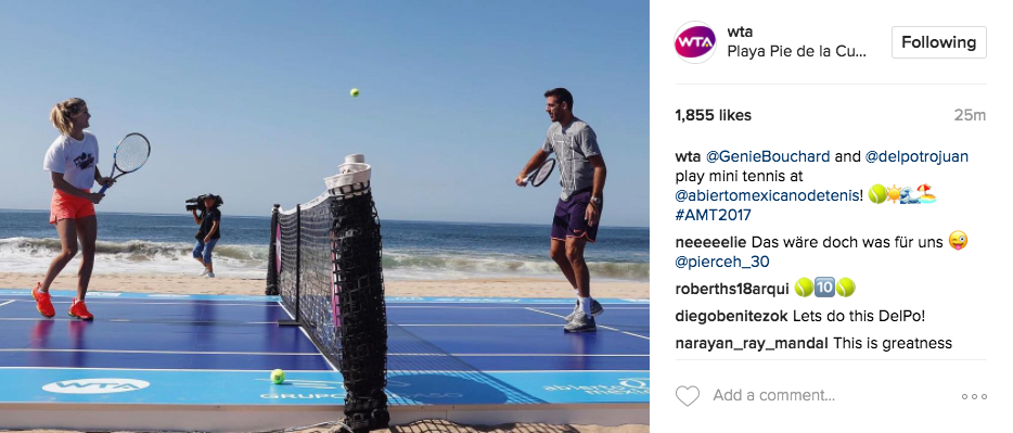 WTA shares a photo on Instagram of Genie Bouchard and Juan Martin Del Potro playing mini tennis in Acapulco.