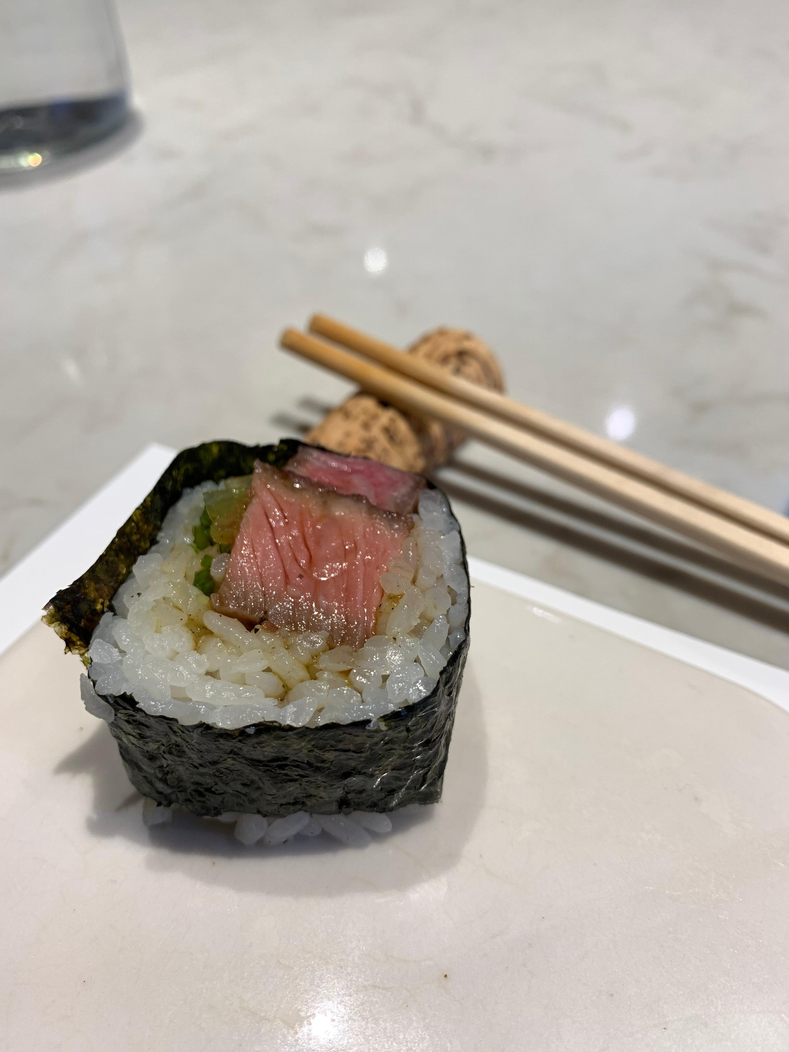 Seared steak roll; prepared sous vide, finished with a sear and served up as a roll. (Image: Frank Guanco)