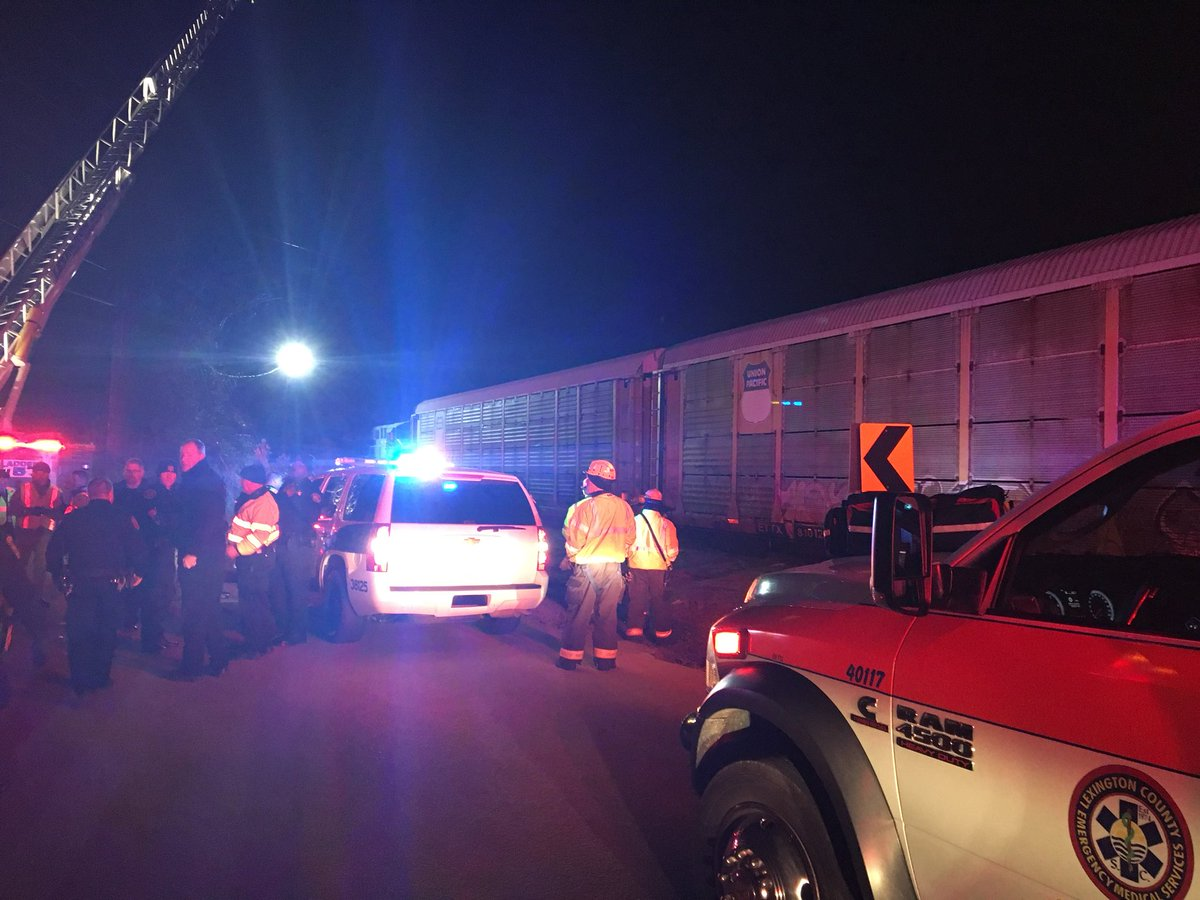 Two people have died after a passenger train collided with a freight train early Sunday morning in Lexington County, S.C. (County of Lexington)<p></p>