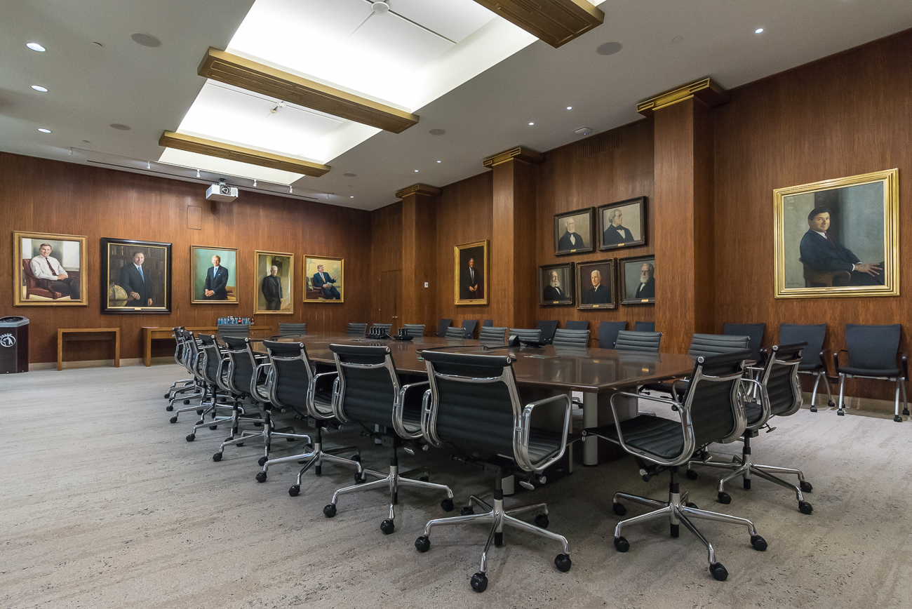 A wood-walled meeting room is lined with paintings of prominent P&Gers. / Image: Phil Armstrong, Cincinnati Refined // Published: 5.7.18