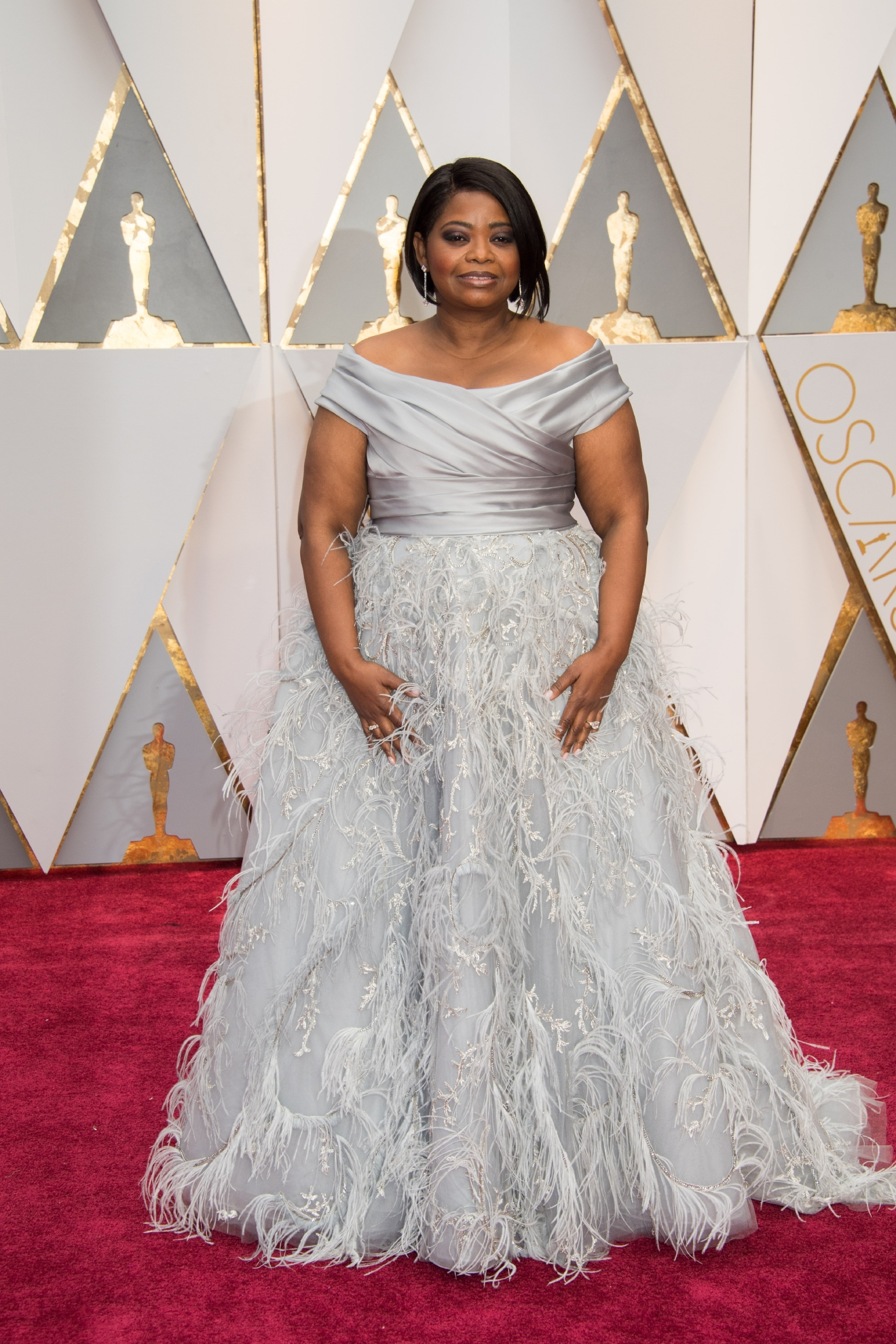 #36: Octavia Spencer. Top of the dress? Love. Bottom ruffly feathers? Not so much. (Image: AMPAS)