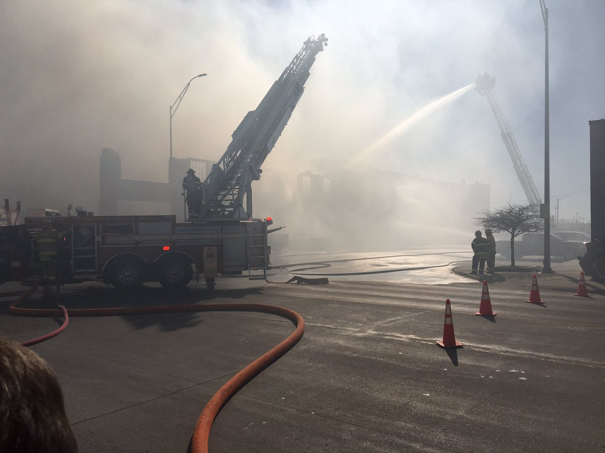 Multiple fire departments on the scene of a fire in downtown Hastings. (NTV News)