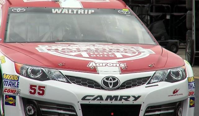 Michael Waltrip in the Alabama Crimson Tide Toyota car during practice at Talladega Superspeedway Friday, May 3, 2013.