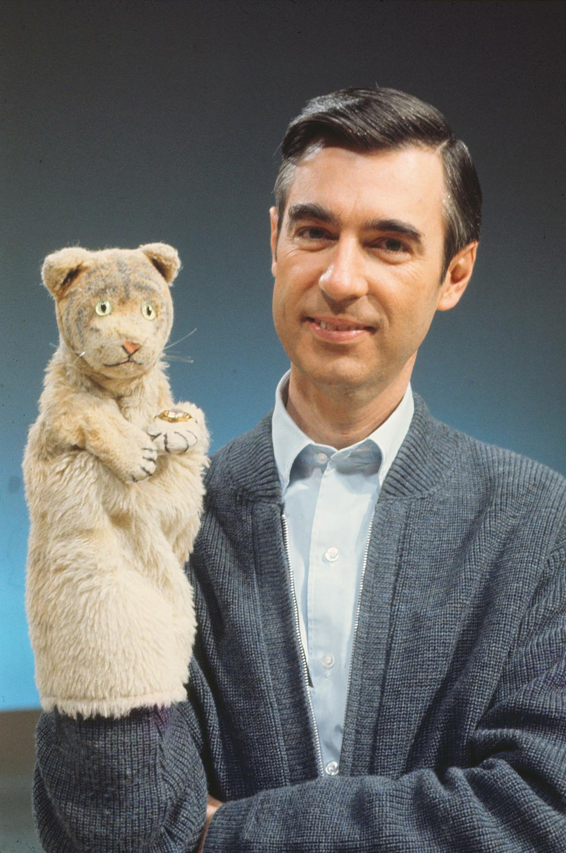 Fred Rogers with Daniel Tiger from his show Mr. Rogers Neighborhood in the film, WON'T YOU BE MY NEIGHBOR?, a Focus Features release. (Photo: The Fred Rogers Company, Focus Features)