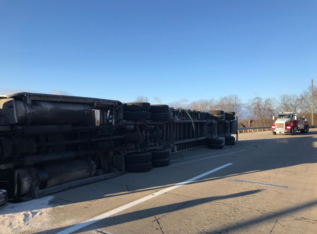 <p>According to investigators at the scene, the truck was moving too quickly when it tried to turn into the weigh station. (WCHS/WVAH)</p>