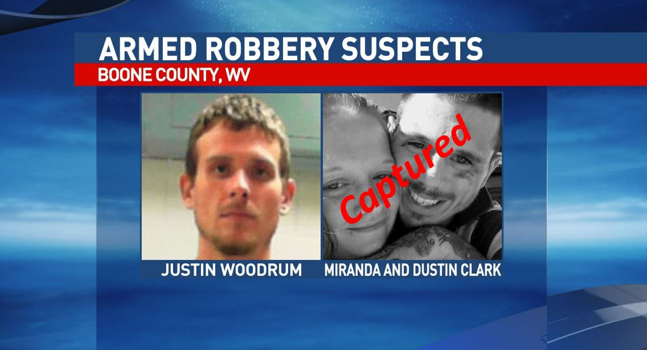 <p>Deputies said Dustin and Miranda Clark were arrested Wednesday evening in Milton. Both were wanted on armed robbery and conspiracy charges in connection with an armed robbery at Sam's Hot Dogs in the Comfort area of Boone County on Nov. 10.{&amp;nbsp;}(Boone County Sheriff's Office)</p>