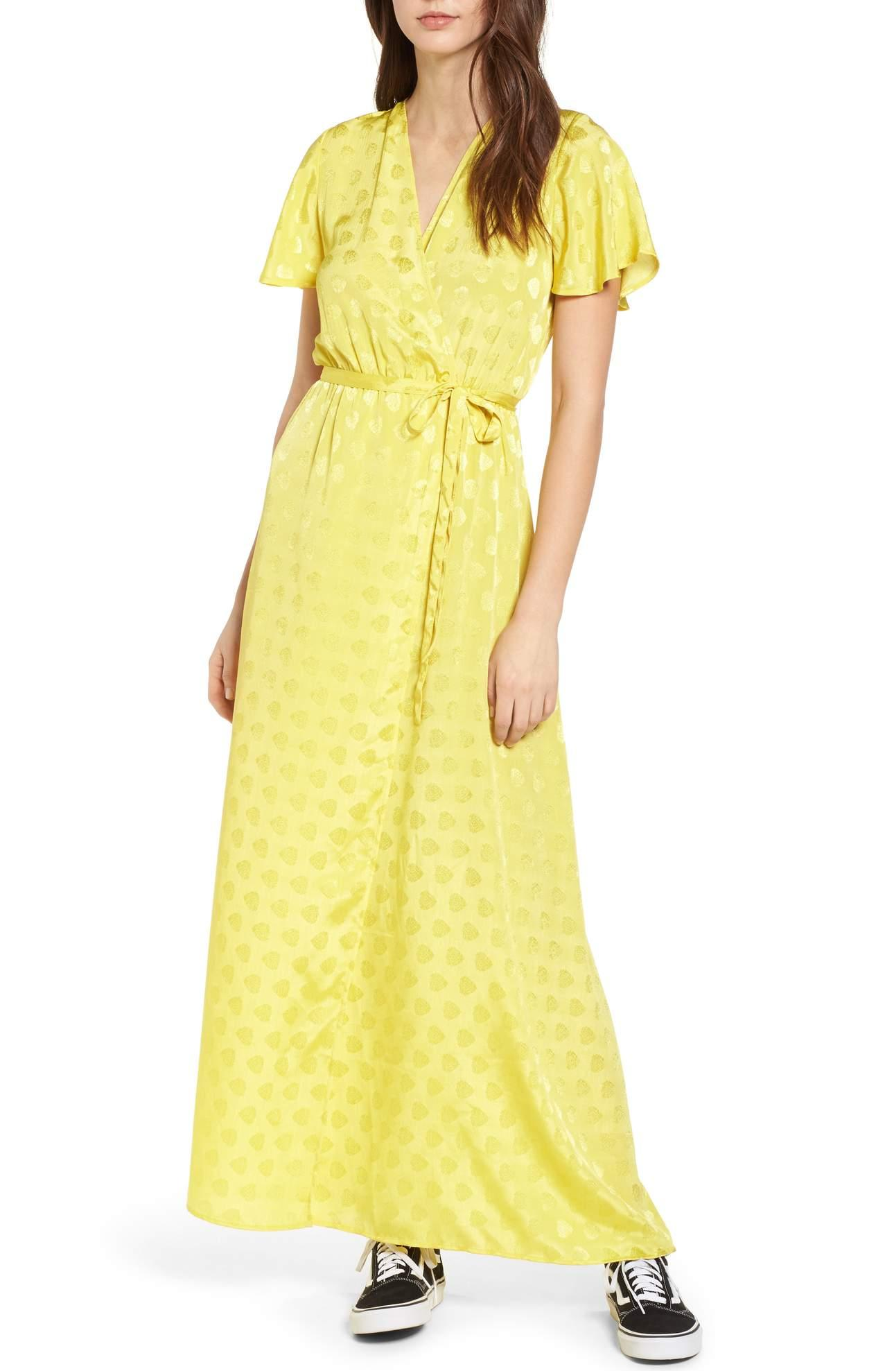 <p>This yellow EZ Days Satin Wrap Maxi Dress/STONE ROW just screams Spring! Sewn from emerald-hued satin, this lustrous maxi dress is styled with fluttering sleeves and a wrapped silhouette that creates an elegant, flattering shape. $98.00 at Nordstrom. (Image: Nordstrom){&nbsp;}</p><p></p>