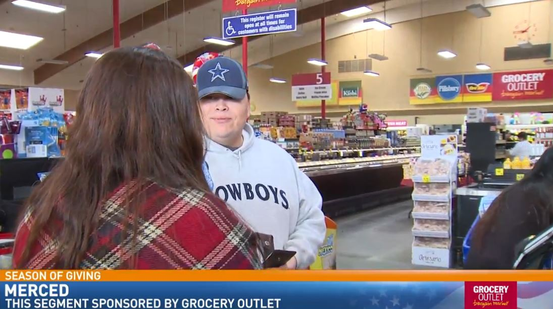 Watch what happened when FOX26 News reporter Liz Gonzalez surprised a man shopping at the Grocery Outlet in Merced.