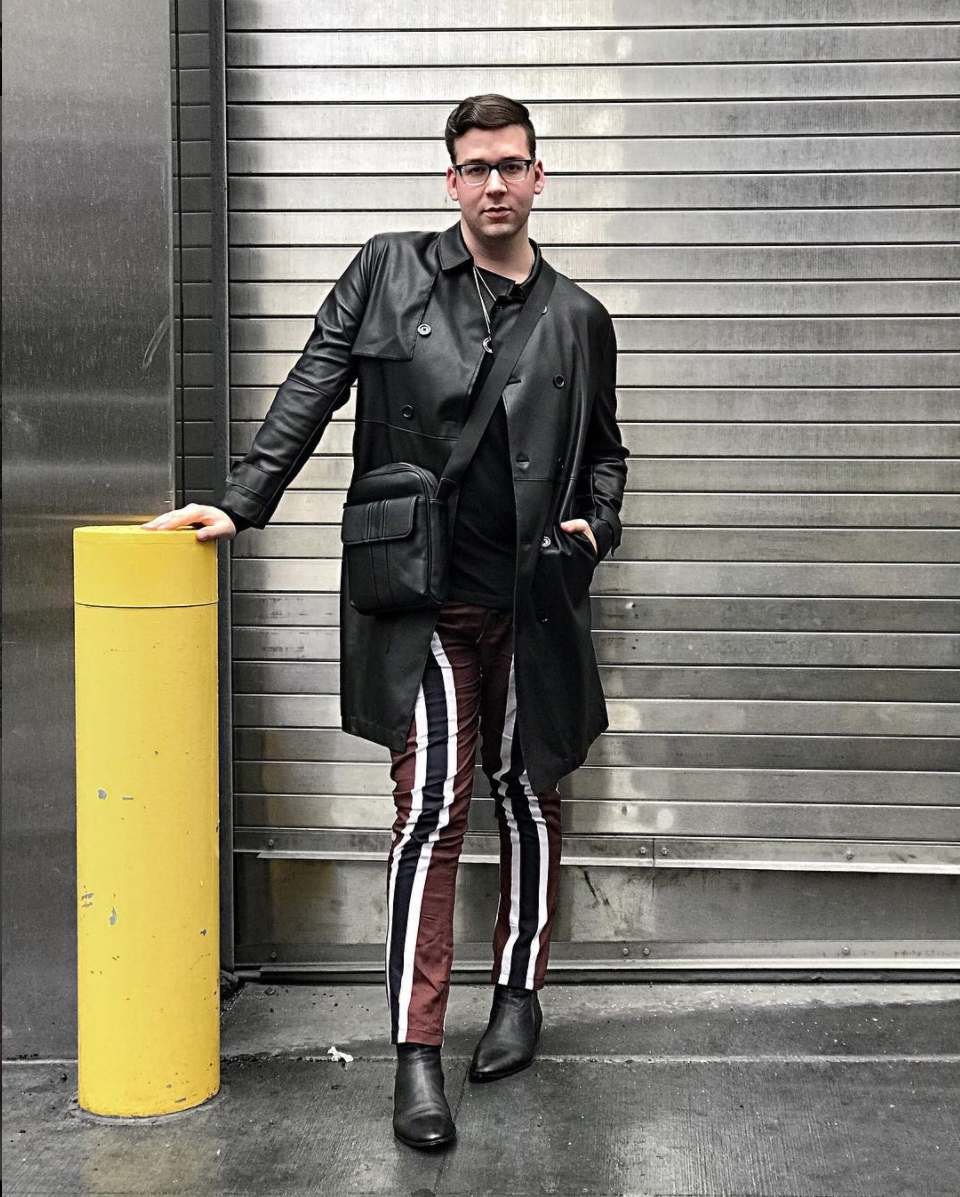 Austin's NYFW looks were a study in monochromatic hues paired with interesting silhouettes and patterns. The pants are eye-catching in a way that's understatedly cool. (Image via @austinrutland)<p></p>