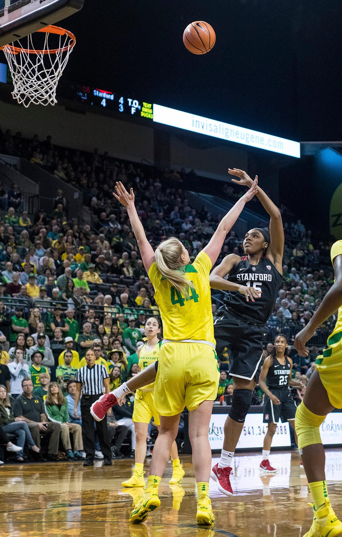 Stanford Cardinal Maya Dodson (#15) aims for the basket. The Stanford Cardinal defeated the Oregon Ducks 78-65 on Sunday afternoon at Matthew Knight Arena. Stanford is now 10-2 in conference play and with this loss the Ducks drop to 10-2. Leading the Stanford Cardinal was Brittany McPhee with 33 points, Alanna Smith with 14 points, and Kiana Williams with 14 points. For the Ducks Sabrina Ionescu led with 22 points, Ruthy Hebard added 16 points, and Satou Sabally put in 14 points. Photo by Rhianna Gelhart, Oregon News Lab