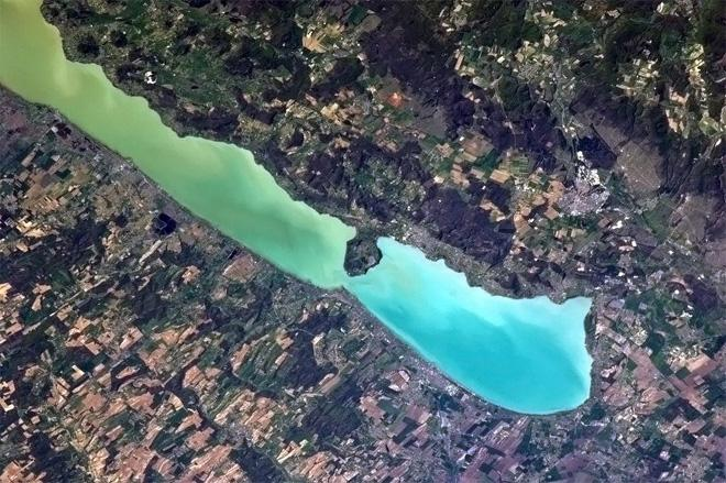 Lake Balaton, Hungary. A lovely vacation destination on the water with spring's new growth visible all around. (Photo & Caption: Col. Chris Hadfield, NASA)