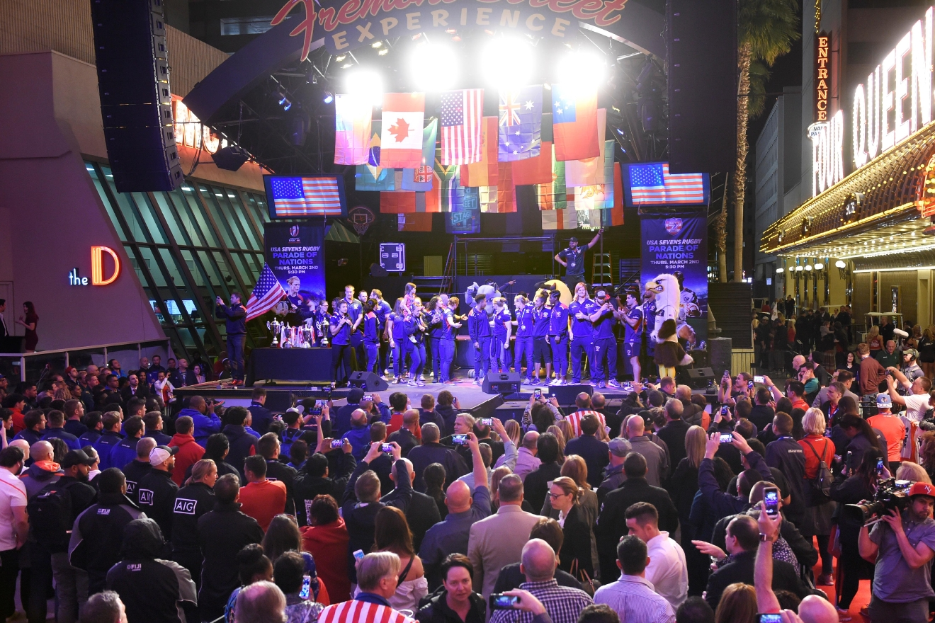 "The US men's and women's teams celebrate on stage during the USA Sevens rugby ""Parade of Nations"" Thursday, March 3, 2017, at the Fremont Street Experience. CREDIT: Sam Morris/Las Vegas News Bureau"